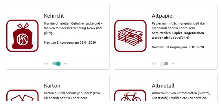 Bildausschnitt des Heimberger Abfallkalender 2020